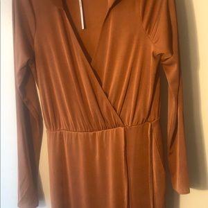 Slinky brown Long sleeve wrap dress